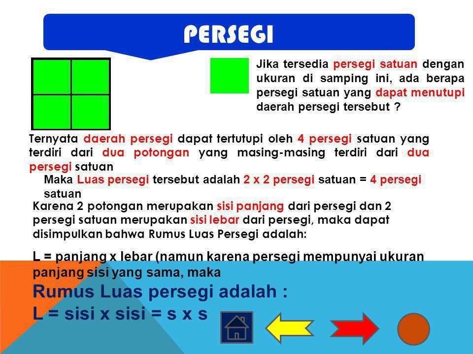 Jika tersedia persegi satuan dengan ukuran di samping ini, ada berapa persegi satuan yang dapat menutupi daerah persegi tersebut ? Ternyata daerah per