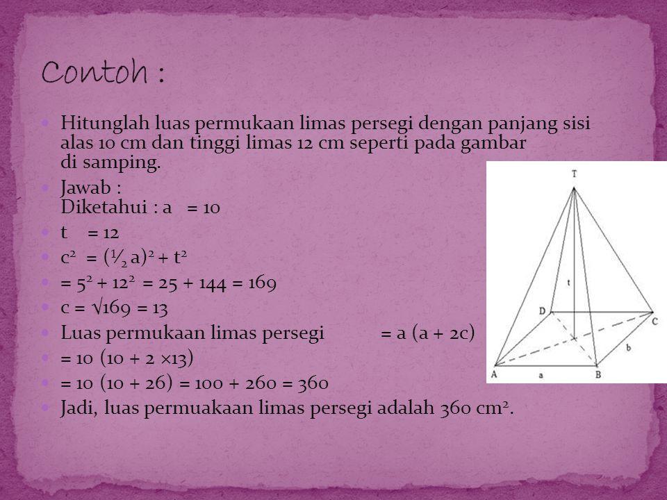 Luas Permukaan limas E.ABCD = Luas Persegi panjang ABCD + Luas Δ EAB + Luas Δ ECD + Luas Δ EAD + Δ EBC Atau = Luas alas + Jumlah Luas Seluruh Sisi Tegak