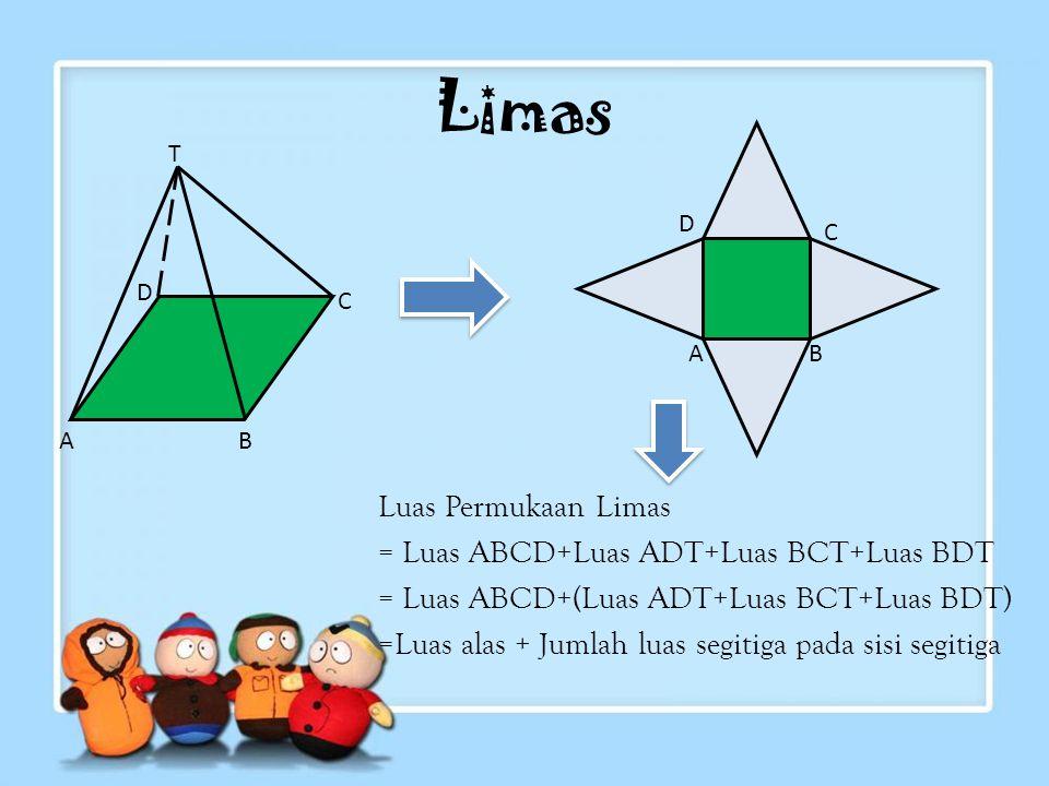 Contoh Soal: Alas sebuah prisma berbentuk segitiga siku-siku dengan panjang sisi masing- masing 9 cm, 12 cm, dan 15 cm. Jika tinggi prisma 10 cm, hitu
