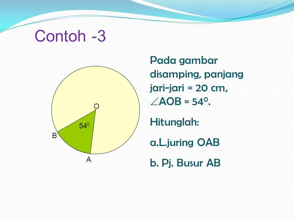 Diketahui :  AB = 40 cm,  AOB = 50 0, dan  AOB = 80 0 Besar  AOB = Pjg. busur AB Besar  COD Pjg. busur CD 50 0 = 40 cm 80 0 X cm X = ( 40 x 80 )