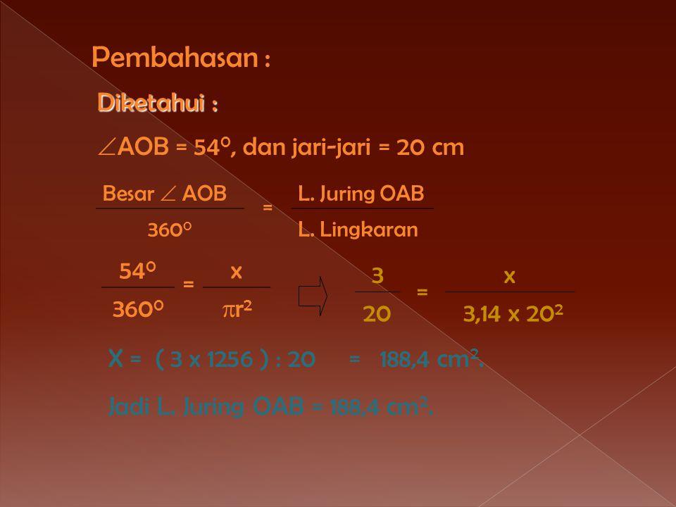 Contoh -3 O A B 54 0 Pada gambar disamping, panjang jari-jari = 20 cm,  AOB = 54 0. Hitunglah: a.L.juring OAB b. Pj. Busur AB