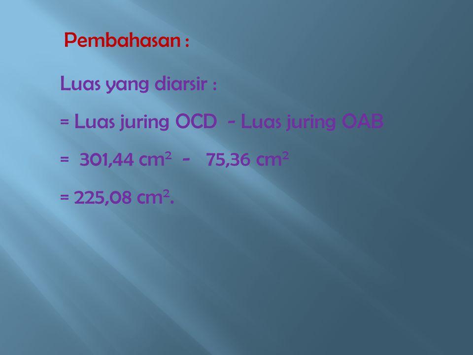 Diketahui : Jari -jari (1) = 12 cm Jari- jari (2) = 24 cm.  AOB = 60 0 Pembahasan : L. Juring OCD = 60 / 360 x Luas lingkaran = 1 / 6 x 3,14 x 24 x 2