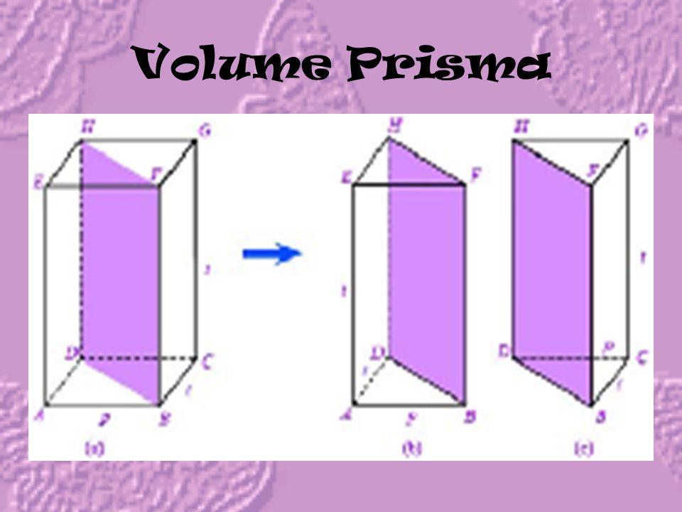 Luas Permukaan Prisma = Luas alasLuas tutup+Luas bidang-bidang tegak = Luas alas + Luas alas + a x t+ b x t+ c x t = 2 x Luas alas+( a + b + c ) x t =