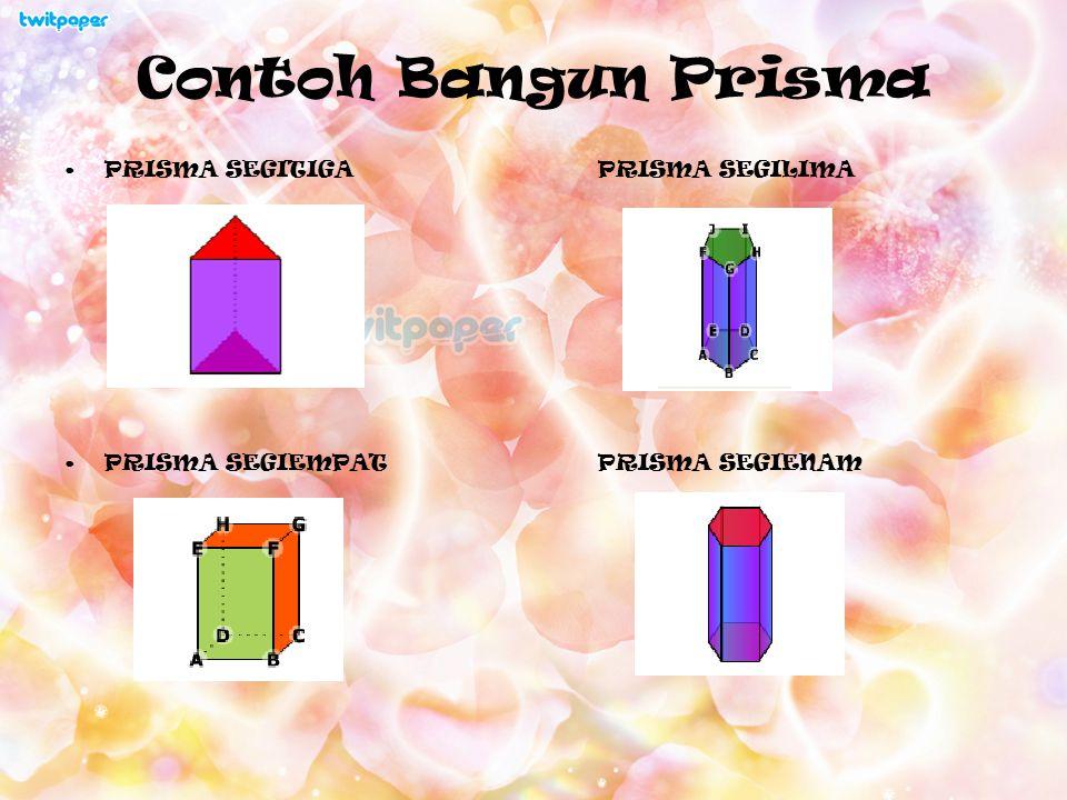 Definisi Prisma Prisma adalah bangun ruang yang dibatasi oleh dua bidang (segi n) yang sejajar dan kongruen sebagai bidang alas dan bidang atas, serta