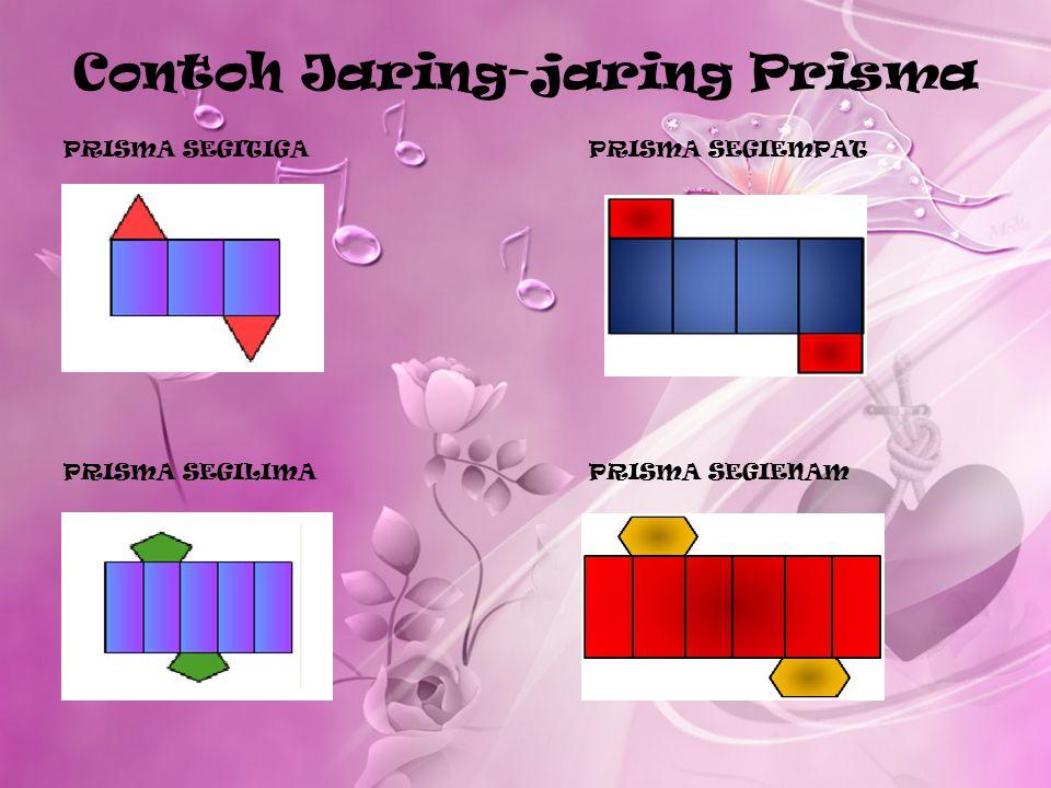 Jaring-Jaring Prisma Jaring-jaring prisma merupakan bentuk dari dua dimensi dari suatu bangun tiga dimensi. Jaring-jaring prisma dapat dibentuk dengan