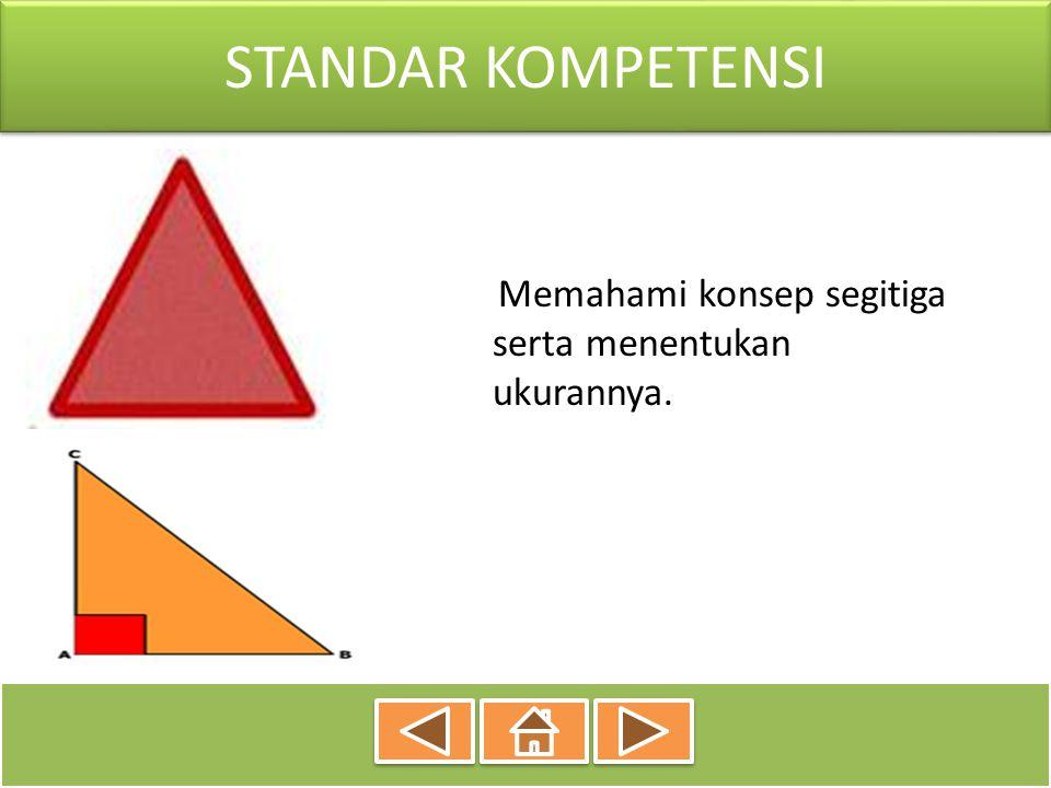 KOMPETENSI DASAR Mengidentifikasi sifat-sifat segitiga berdasarkan sisi dan sudutnya Menghitung keliling dan luas bangun segitiga serta menggunakannya dalam pemecahan masalah.