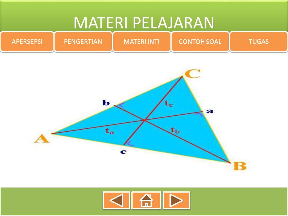 APERSEPSI  dapat menjelaskan jenis-jenis segitiga berdasarkan sisi-sisinya;  dapat menjelaskan jenis-jenis segitiga berdasarkan besar sudutnya;  dapat menurunkan rumus keliling bangun segitiga  dapat menurunkan rumus luas bangun segitiga  dapat menyelesaikan masalah yang berkaitan dengan menghitung keliling dan luas bangun segitiga  dapat melukis segitiga yang diketahui tiga sisinya, dua sisi satu sudut apitnya atau satu sisi dan dua sudut;  dapat melukis segitiga sama sisi dan segitiga sama kaki;  dapat menyelesaikan masalah dengan konsep dalil pythagoras APERSEPSI PENGERTIAN MATERI INTI CONTOH SOAL TUGAS