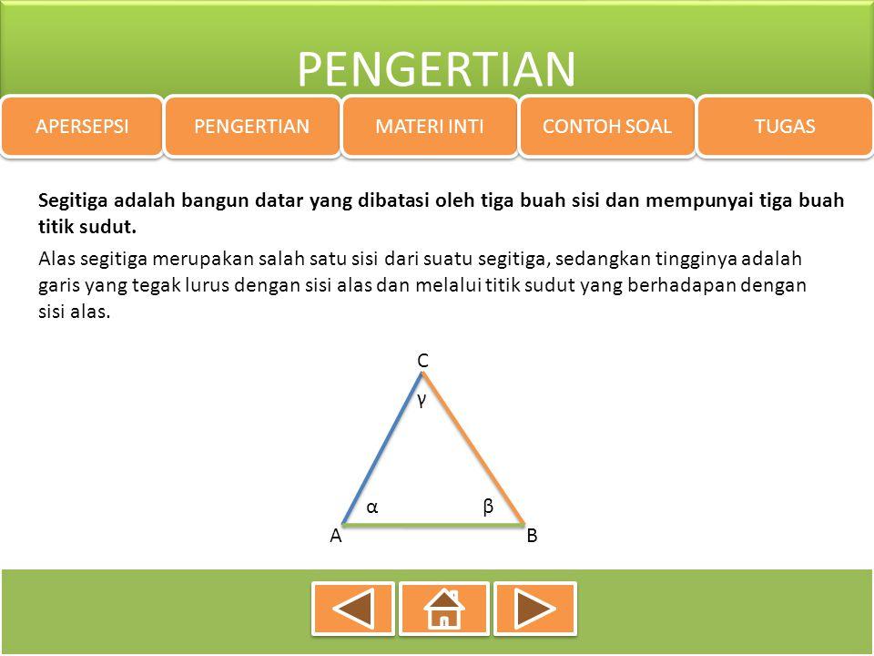 MATERI INTI APERSEPSI PENGERTIAN MATERI INTI CONTOH SOAL TUGAS Jenis-jenis segitiga dapat ditinjau berdasarkan : a.