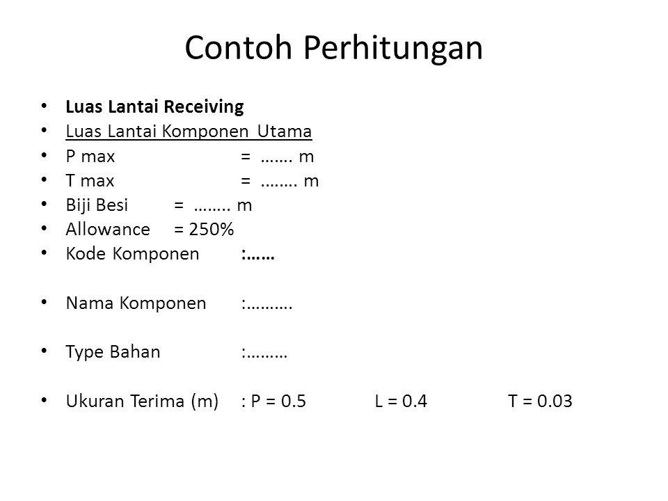 Contoh Perhitungan Luas Lantai Receiving Luas Lantai Komponen Utama P max= …….