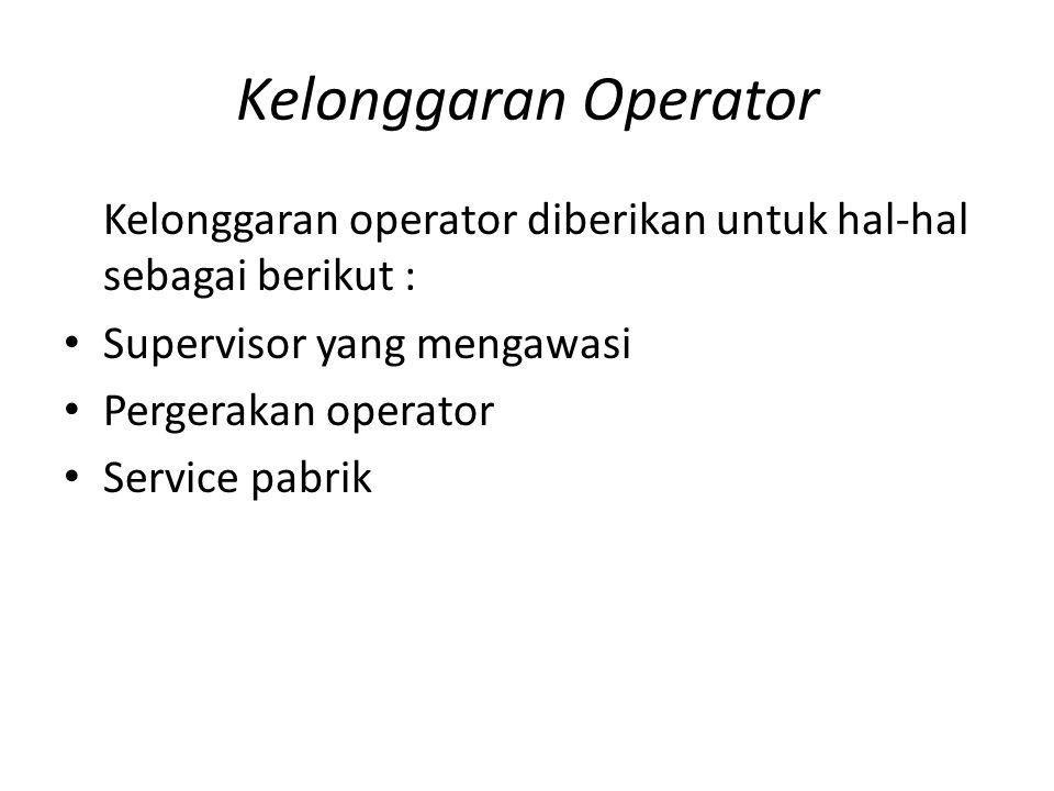 Kelonggaran Operator Kelonggaran operator diberikan untuk hal-hal sebagai berikut : Supervisor yang mengawasi Pergerakan operator Service pabrik