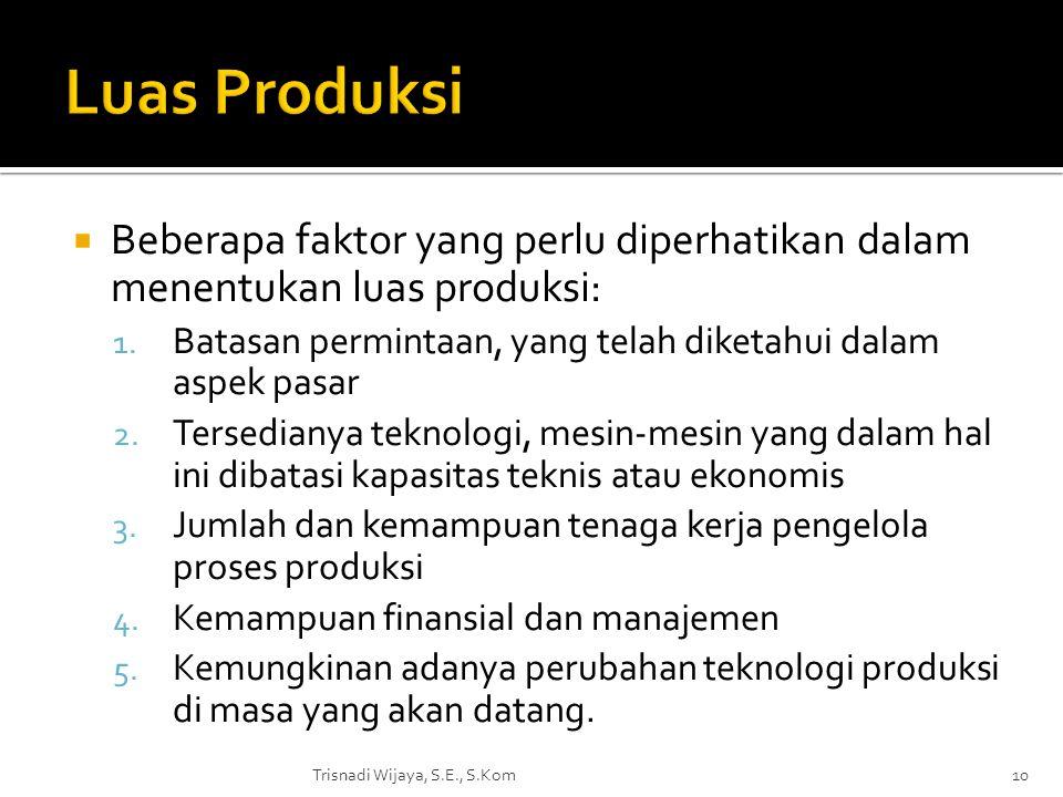  Beberapa faktor yang perlu diperhatikan dalam menentukan luas produksi: 1. Batasan permintaan, yang telah diketahui dalam aspek pasar 2. Tersedianya