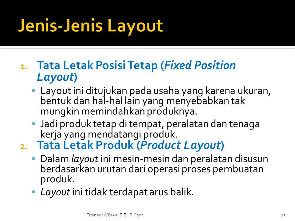 1. Tata Letak Posisi Tetap (Fixed Position Layout)  Layout ini ditujukan pada usaha yang karena ukuran, bentuk dan hal-hal lain yang menyebabkan tak