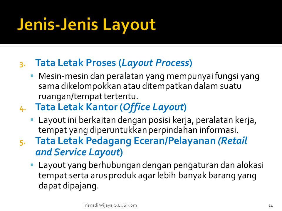 3. Tata Letak Proses (Layout Process)  Mesin-mesin dan peralatan yang mempunyai fungsi yang sama dikelompokkan atau ditempatkan dalam suatu ruangan/t