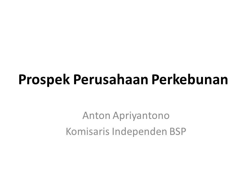 Prospek Perusahaan Perkebunan Anton Apriyantono Komisaris Independen BSP