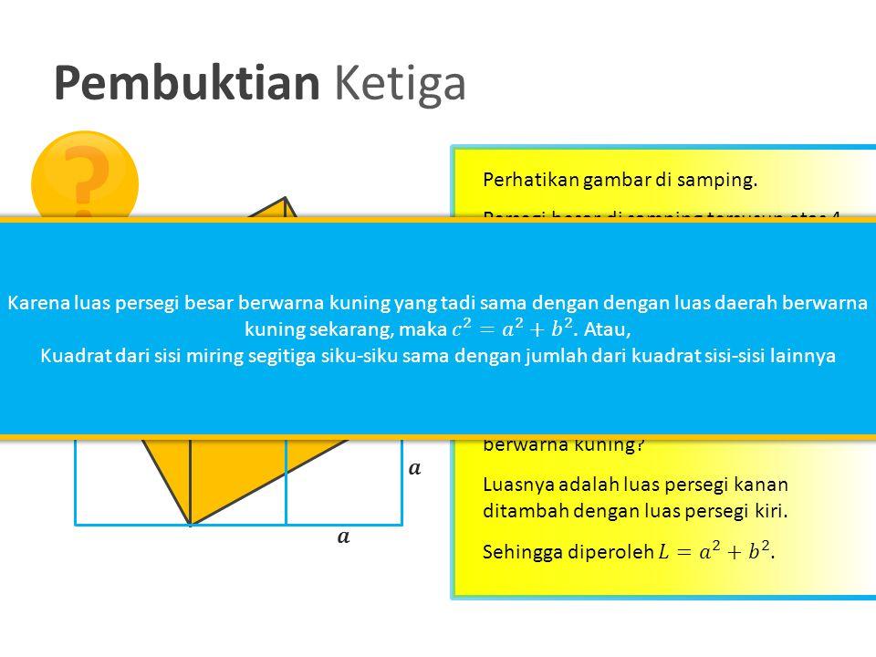 Pembuktian Ketiga Perhatikan gambar di samping. Berapakah luas daerah yang berwarna kuning di samping? Sekarang, berapakah luas daerah yang berwarna k