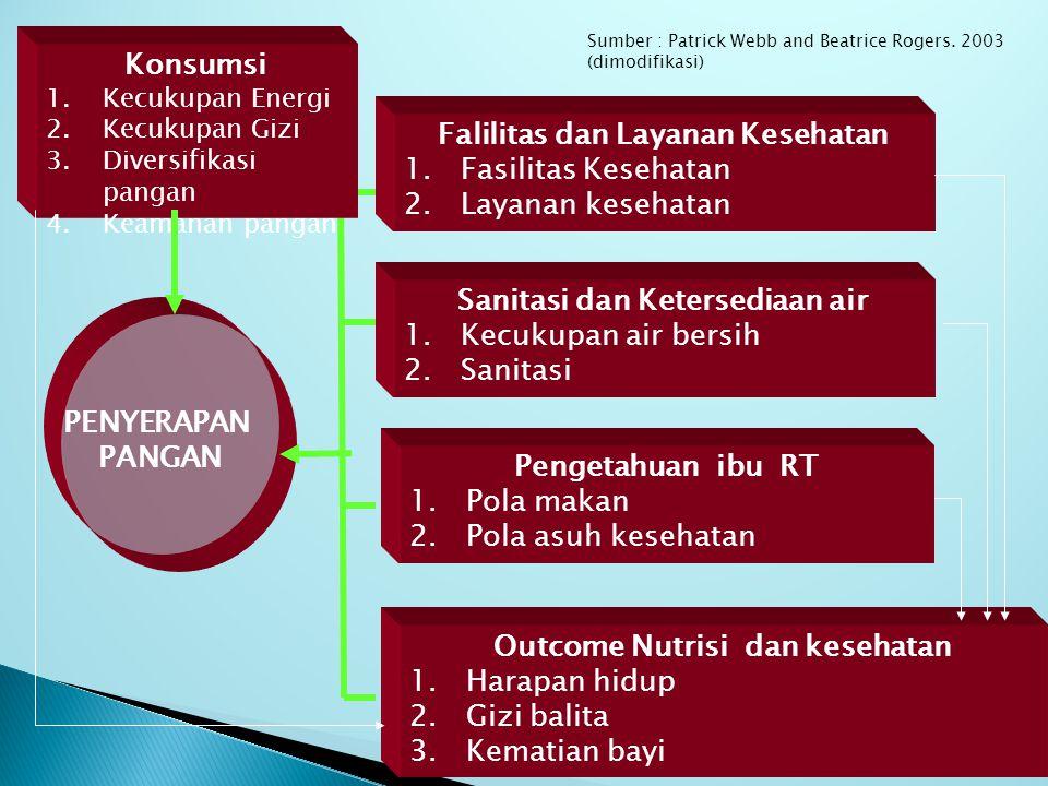 AKSES PANGAN Akses Ekonomi Akses Fisik (isolasi daerah) Pendapatan Kesempatan kerja Harga Pangan Infrastruktur pedesaan Sarana dan prasarana perhubung