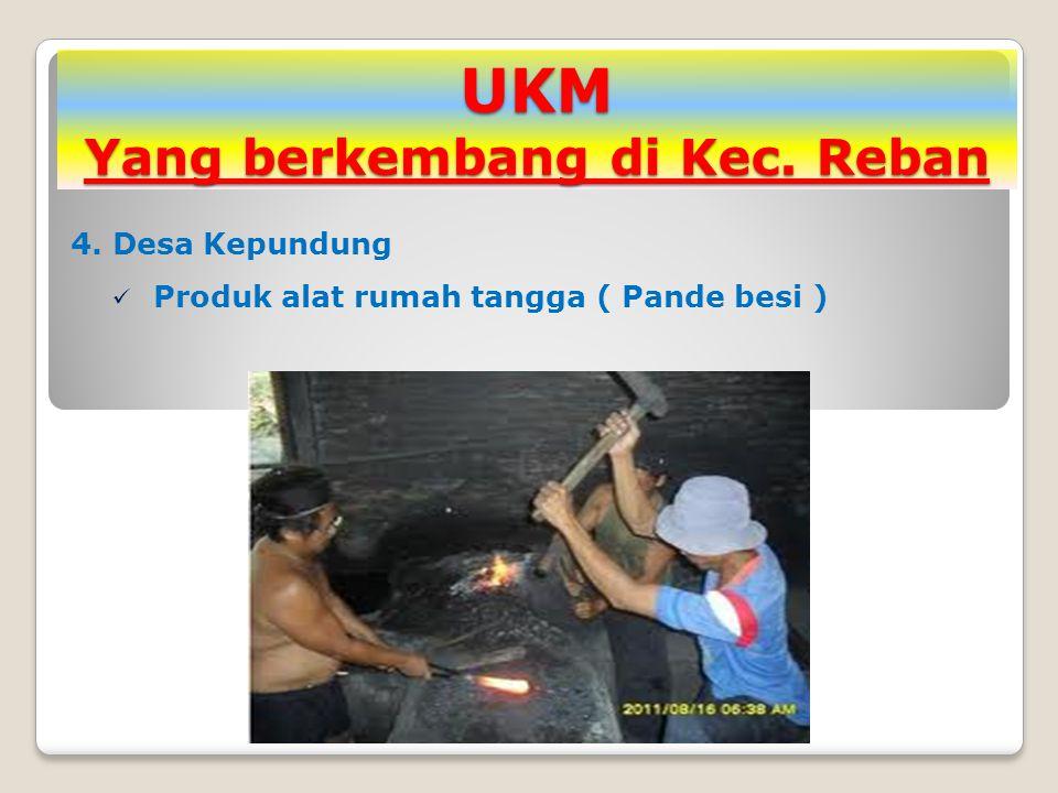UKM Yang berkembang di Kec. Reban 4. Desa Kepundung Produk alat rumah tangga ( Pande besi )