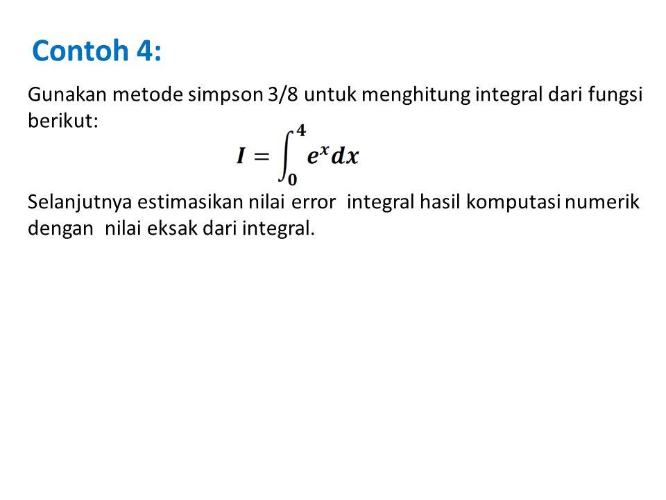 Contoh 4: Gunakan metode simpson 3/8 untuk menghitung integral dari fungsi berikut: Selanjutnya estimasikan nilai error integral hasil komputasi numer