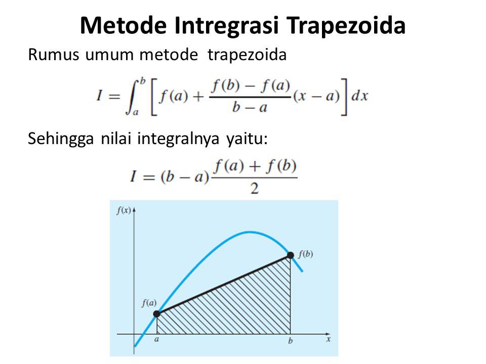 Metode Intregrasi Trapezoida Rumus umum metode trapezoida Sehingga nilai integralnya yaitu: