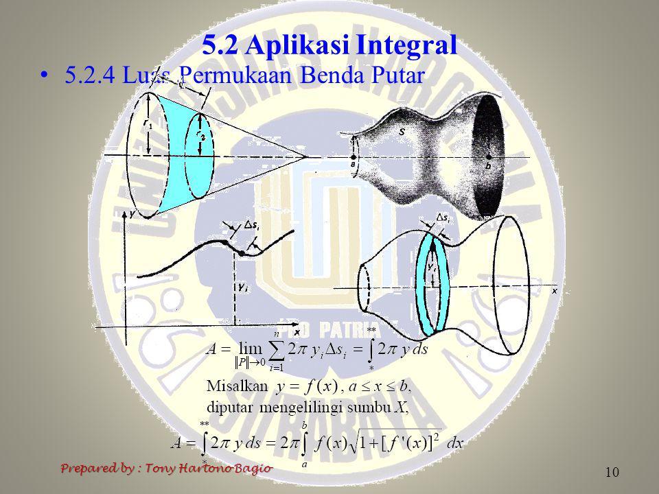 5.2 Aplikasi Integral 5.2.4 Luas Permukaan Benda Putar Prepared by : Tony Hartono Bagio 10