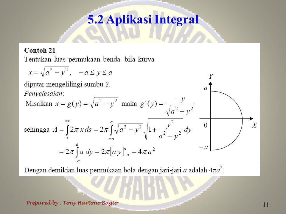 5.2 Aplikasi Integral Prepared by : Tony Hartono Bagio 11