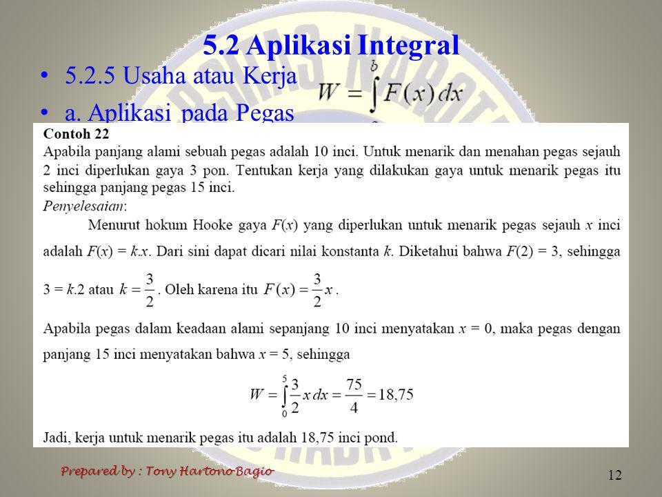 5.2 Aplikasi Integral 5.2.5 Usaha atau Kerja a. Aplikasi pada Pegas Prepared by : Tony Hartono Bagio 12