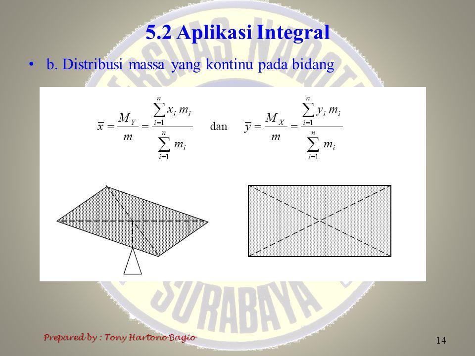 5.2 Aplikasi Integral b. Distribusi massa yang kontinu pada bidang Prepared by : Tony Hartono Bagio 14