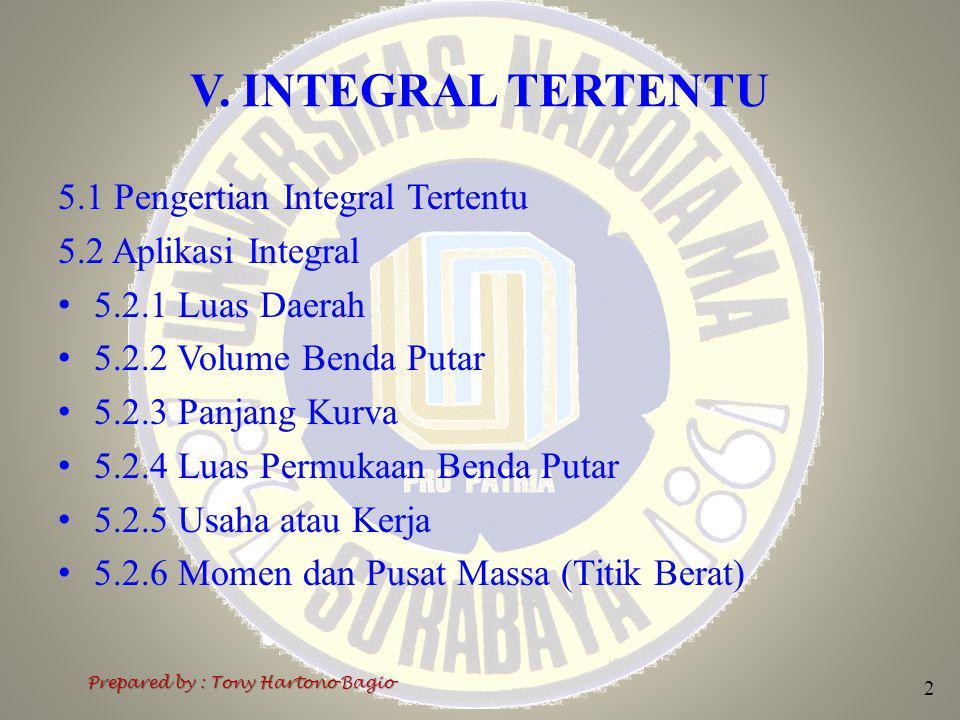 V. INTEGRAL TERTENTU 5.1 Pengertian Integral Tertentu 5.2 Aplikasi Integral 5.2.1 Luas Daerah 5.2.2 Volume Benda Putar 5.2.3 Panjang Kurva 5.2.4 Luas
