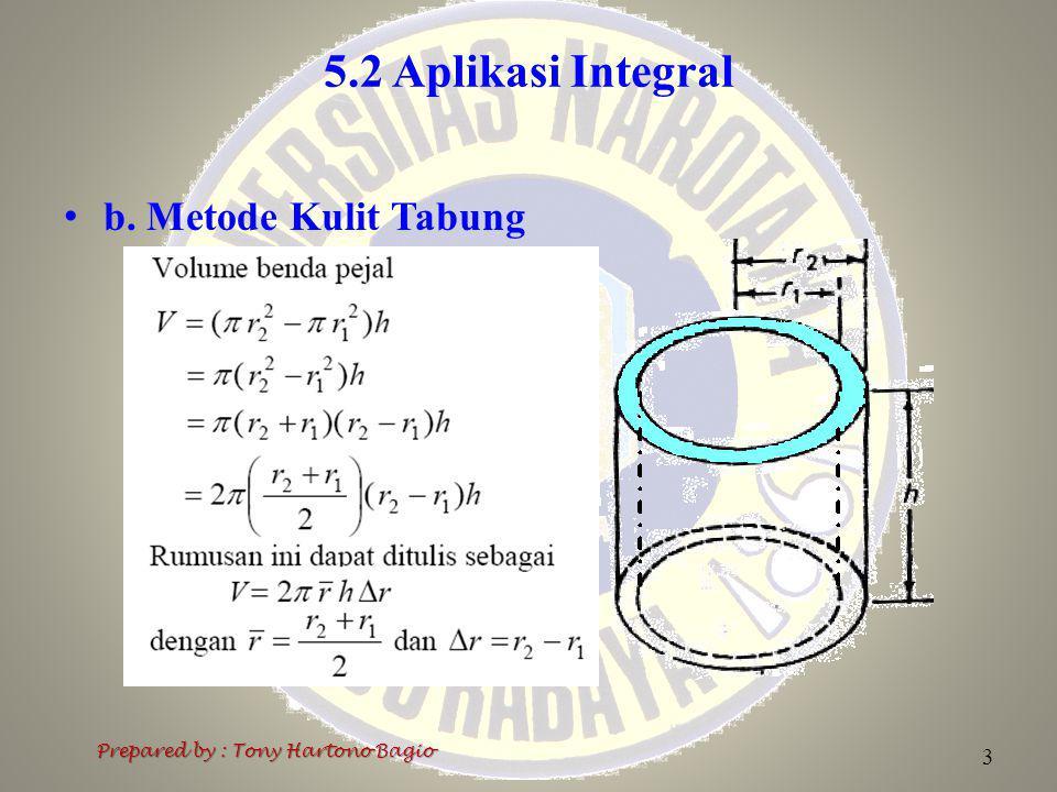 5.2 Aplikasi Integral b. Metode Kulit Tabung Prepared by : Tony Hartono Bagio 3