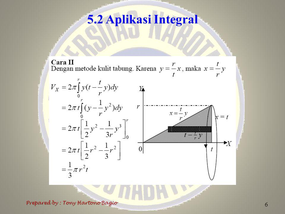 5.2 Aplikasi Integral Prepared by : Tony Hartono Bagio 6
