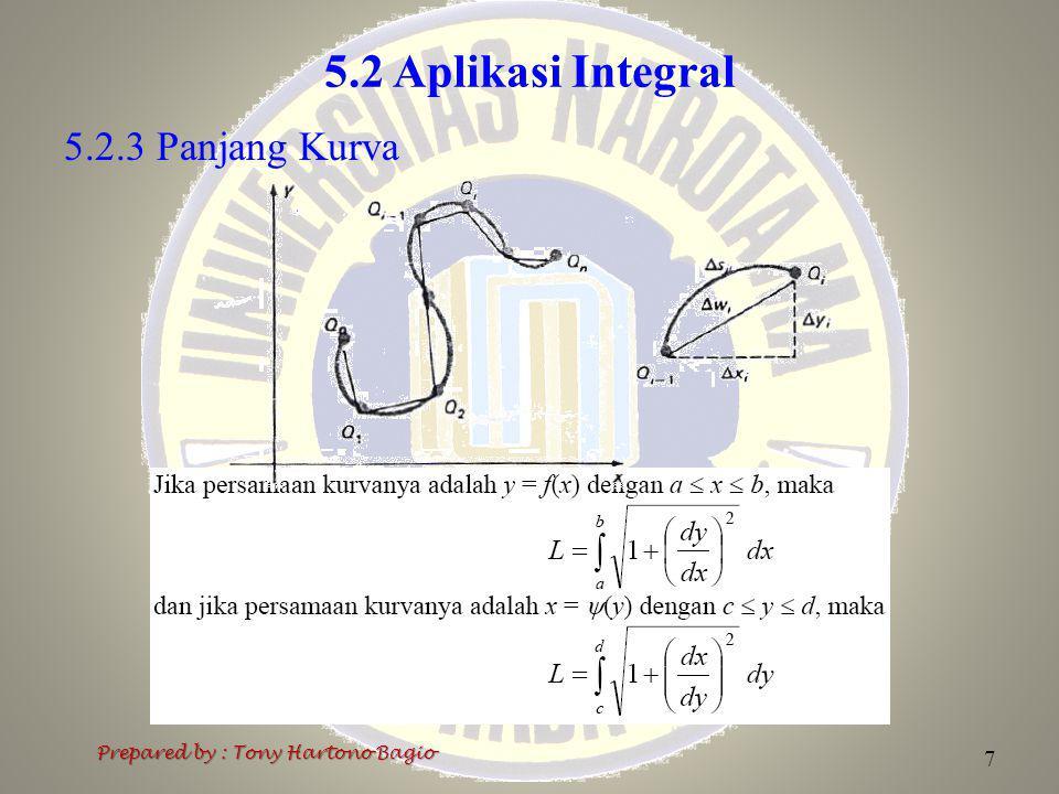 5.2 Aplikasi Integral 5.2.3 Panjang Kurva Prepared by : Tony Hartono Bagio 7