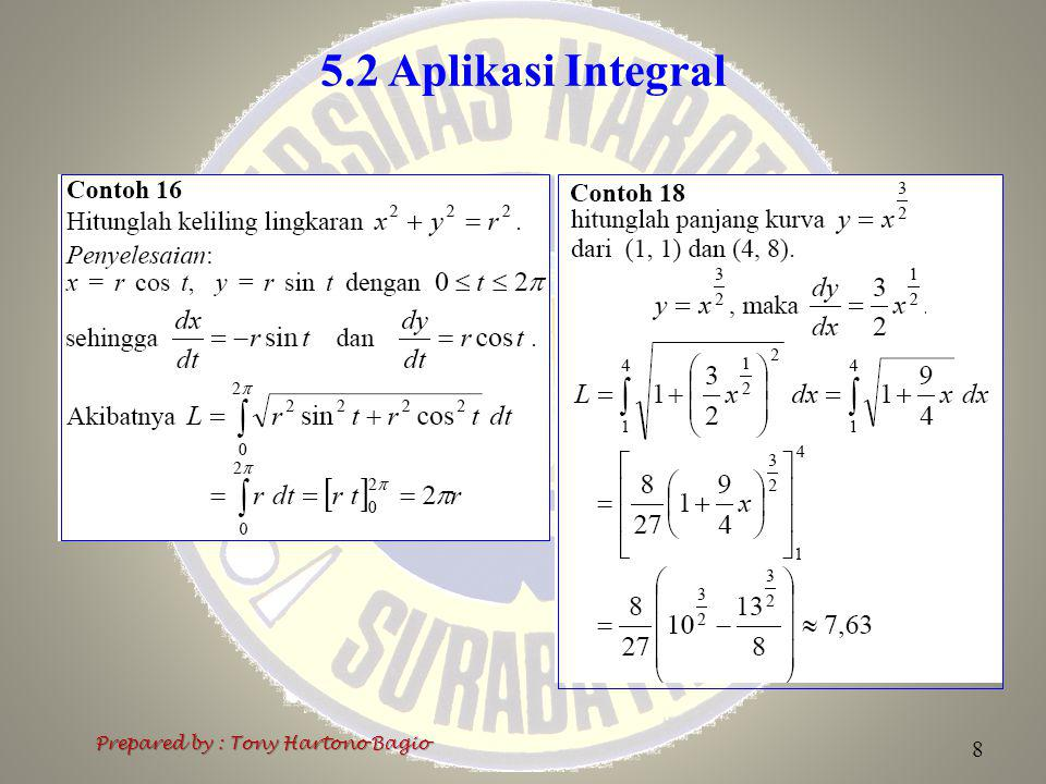 5.2 Aplikasi Integral Prepared by : Tony Hartono Bagio 8