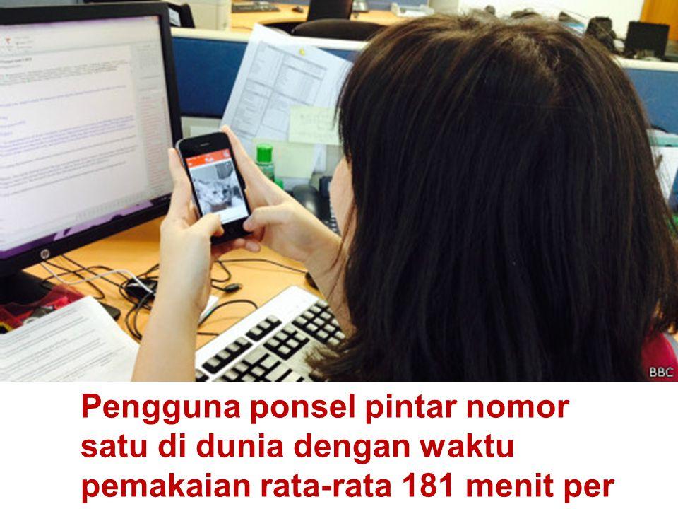 Pengguna ponsel pintar nomor satu di dunia dengan waktu pemakaian rata-rata 181 menit per hari.