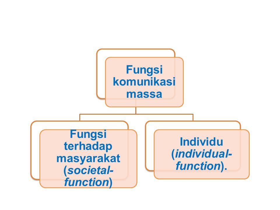 Fungsi komunikasi massa Fungsi terhadap masyarakat (societal- function) Individu (individual- function).