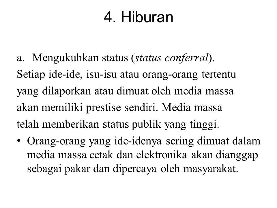 4. Hiburan a.Mengukuhkan status (status conferral). Setiap ide-ide, isu-isu atau orang-orang tertentu yang dilaporkan atau dimuat oleh media massa aka