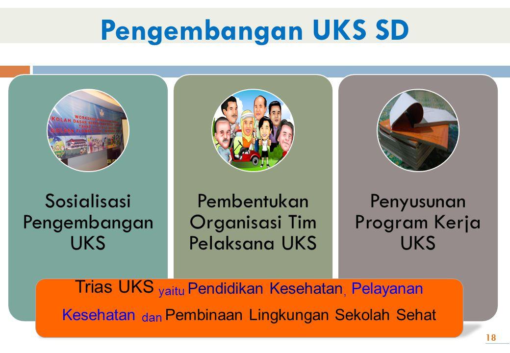 18 Sosialisasi Pengembangan UKS Pembentukan Organisasi Tim Pelaksana UKS Penyusunan Program Kerja UKS Pengembangan UKS SD Trias UKS yaitu Pendidikan K