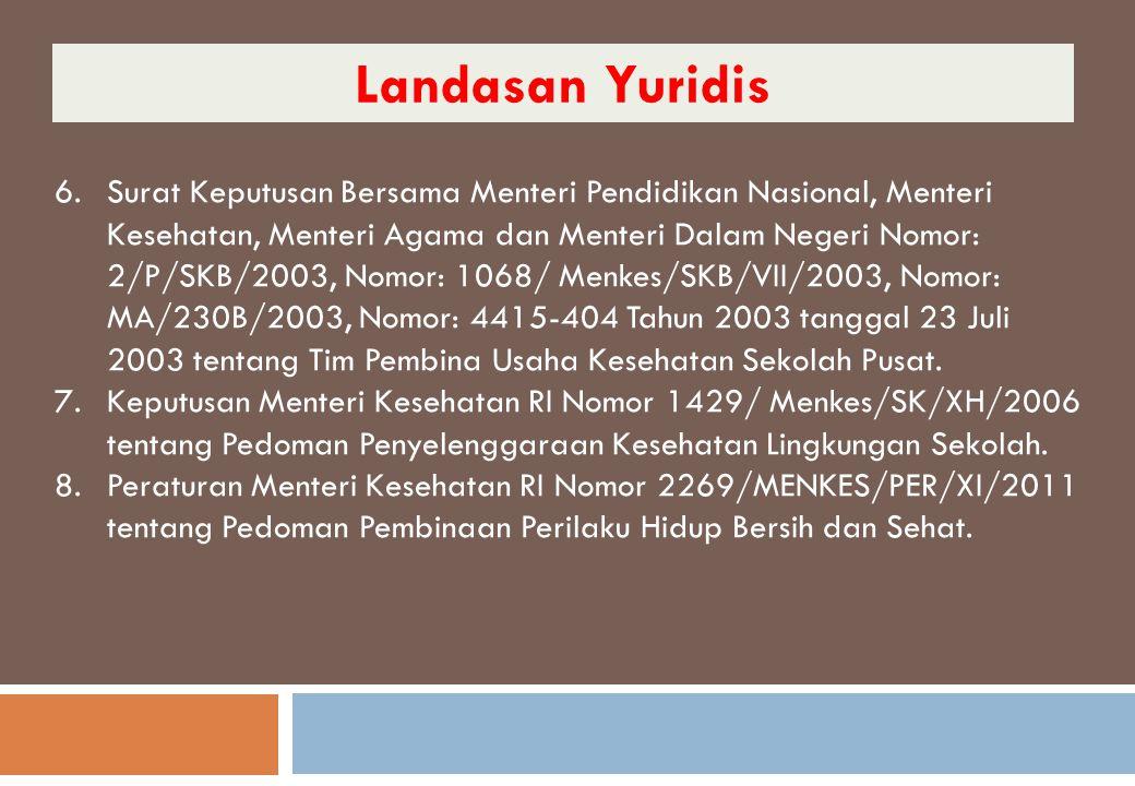 6.Surat Keputusan Bersama Menteri Pendidikan Nasional, Menteri Kesehatan, Menteri Agama dan Menteri Dalam Negeri Nomor: 2/P/SKB/2003, Nomor: 1068/ Men