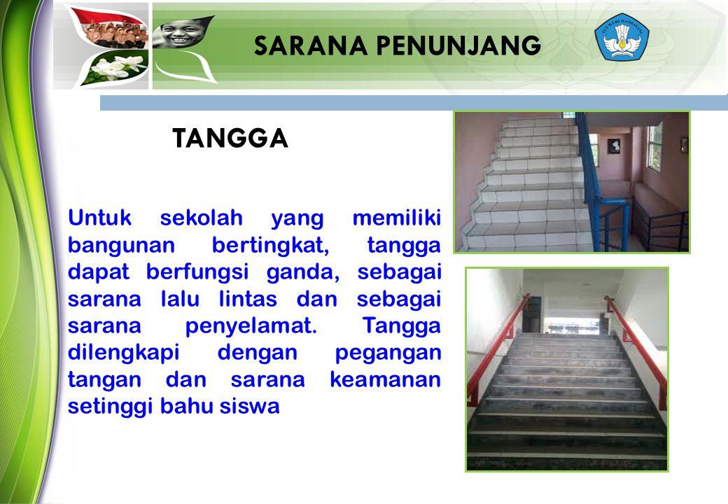 SARANA PENUNJANG Untuk sekolah yang memiliki bangunan bertingkat, tangga dapat berfungsi ganda, sebagai sarana lalu lintas dan sebagai sarana penyelam