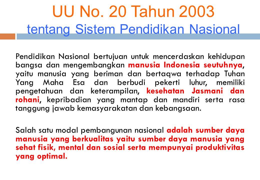 UU No. 20 Tahun 2003 tentang Sistem Pendidikan Nasional Pendidikan Nasional bertujuan untuk mencerdaskan kehidupan bangsa dan mengembangkan manusia In