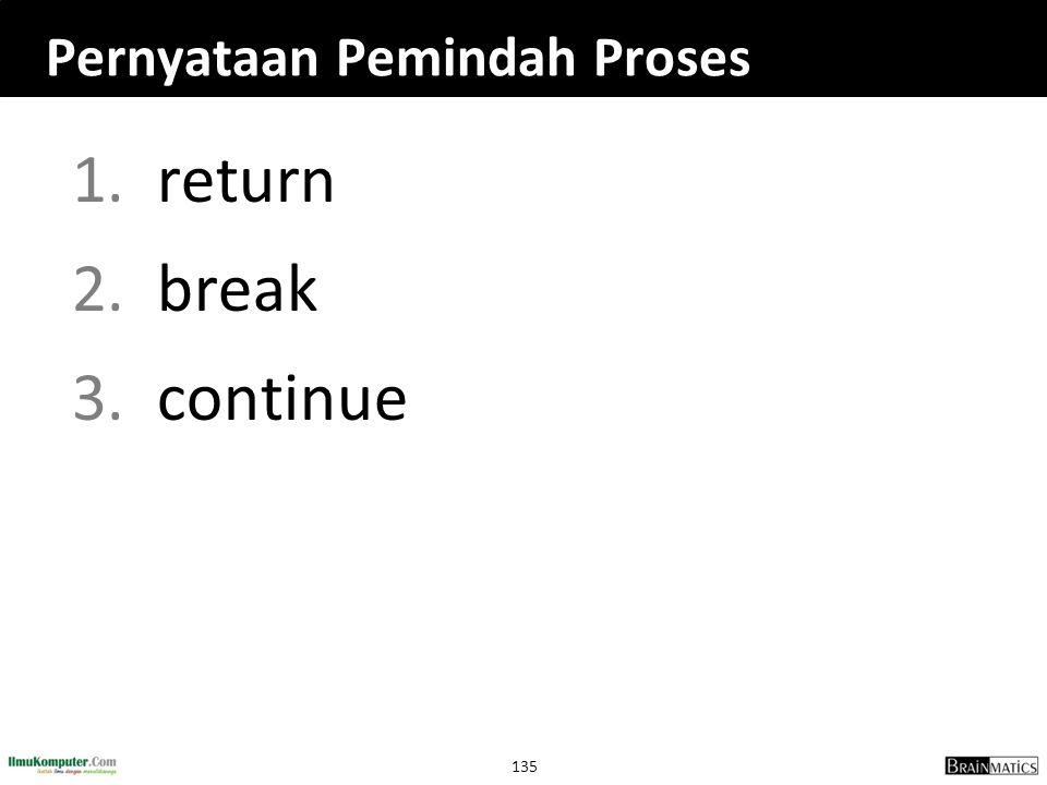135 Pernyataan Pemindah Proses 1.return 2.break 3.continue
