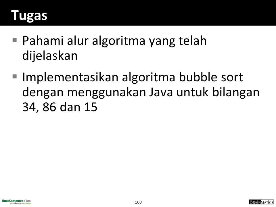160 Tugas  Pahami alur algoritma yang telah dijelaskan  Implementasikan algoritma bubble sort dengan menggunakan Java untuk bilangan 34, 86 dan 15