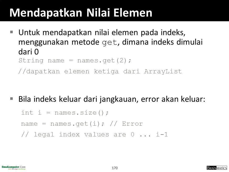 170 Mendapatkan Nilai Elemen  Untuk mendapatkan nilai elemen pada indeks, menggunakan metode get, dimana indeks dimulai dari 0 String name = names.ge