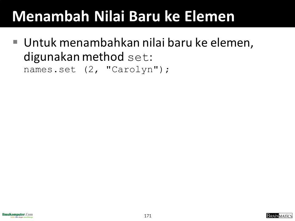 171 Menambah Nilai Baru ke Elemen  Untuk menambahkan nilai baru ke elemen, digunakan method set : names.set (2,