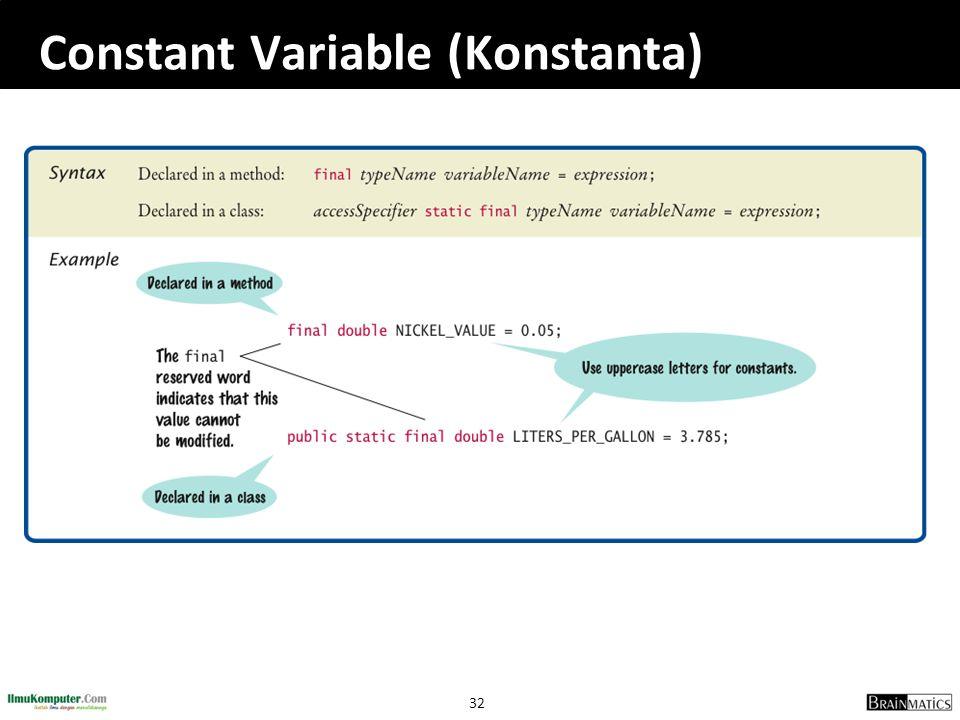 32 Constant Variable (Konstanta)