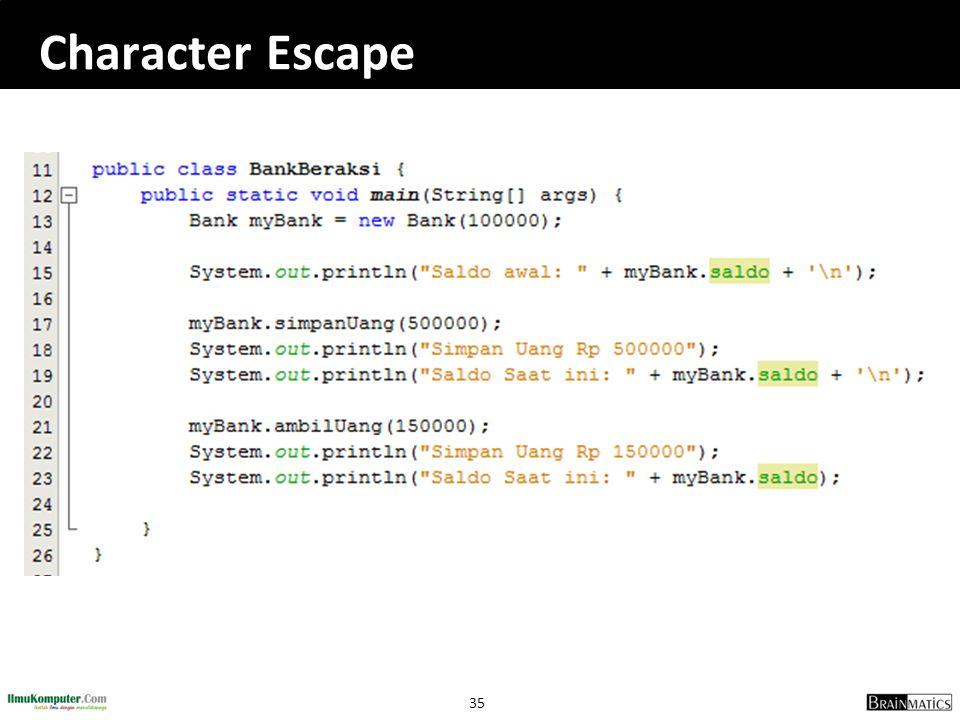 35 Character Escape