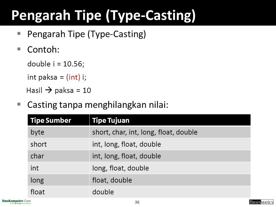 36 Pengarah Tipe (Type-Casting)  Pengarah Tipe (Type-Casting)  Contoh: double i = 10.56; int paksa = (int) i; Hasil  paksa = 10  Casting tanpa men
