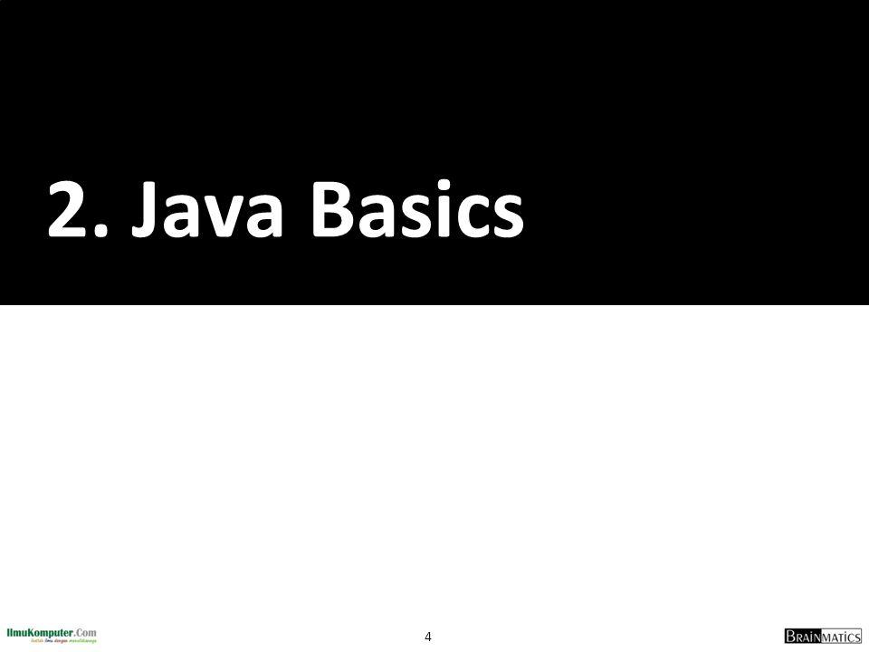 5 Java Basics 1.Pernyataan dan Ekspresi 2.Variabel dan Tipe Data 3.Operator 4.I/O Stream Sederhana 5.Pengaturan Format Output Numerik 6.Konversi String dan Bilangan (Number) 7.Pernyataan Penentu Keputusan 8.Pernyataan Pengulangan Proses 9.Pernyataan Pemindah Proses 10.Array dan ArrayList