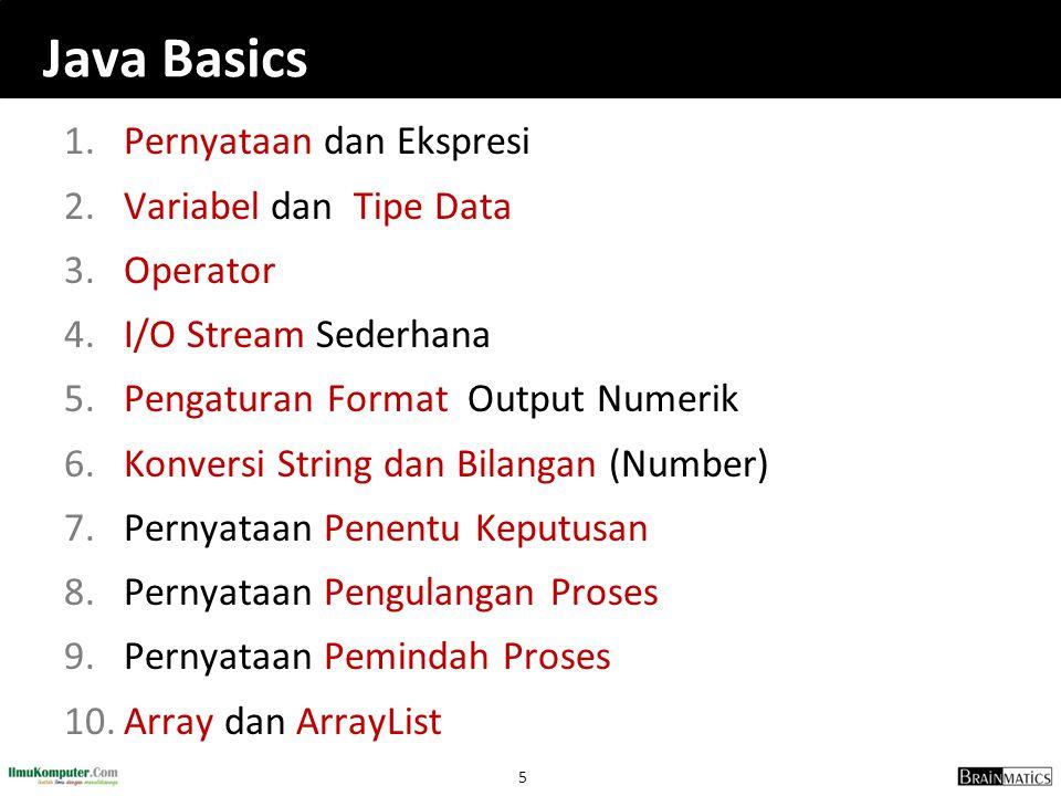 146 Konsep Array (Larik)  Array adalah objek yang dapat digunakan untuk menyimpan sejumlah data dalam tipe sama dengan jumlah elemen tetap  Elemen yang disimpan pada array dapat berupa tipe primitif (int, float, etc) atau objek (instan dari class)  Langkah menciptakan array: 1.Mendeklarasikan variabel array 2.Menciptakan objek array