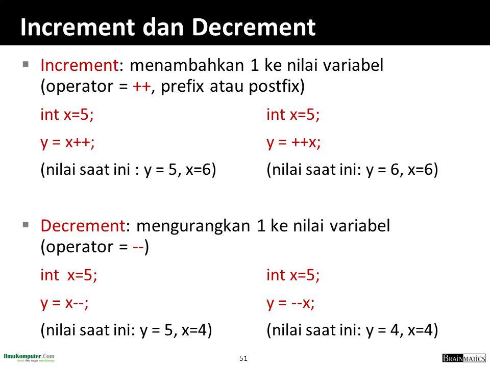 51 Increment dan Decrement  Increment: menambahkan 1 ke nilai variabel (operator = ++, prefix atau postfix)int x=5; y = x++;y = ++x; (nilai saat ini