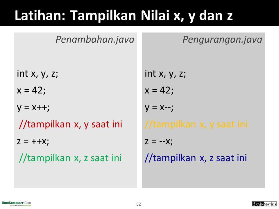 52 Latihan: Tampilkan Nilai x, y dan z Penambahan.java int x, y, z; x = 42; y = x++; //tampilkan x, y saat ini z = ++x; //tampilkan x, z saat ini Peng